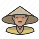 asian, cone, farmer, female, hat