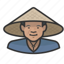 asian, cone, farmer, hat, man