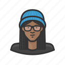 african, braids, cap, girl, glasses, knit icon
