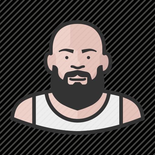 bald, beard, fat, heavyset, man icon