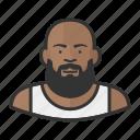 african, bald, beard, fat, heavyset, man icon