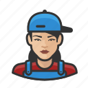 asian, avatar, female, house, painter, user, woman icon