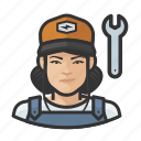asian, avatar, female, mechanic, user, woman icon
