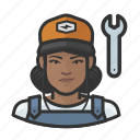 avatar, female, mechanic, user, woman icon