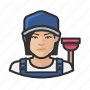asian, avatar, female, plumber, user, woman icon