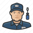 asian, avatar, male, man, repair, technician, user icon