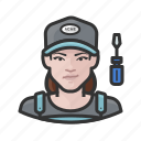 avatar, female, repair, technician, user, woman icon