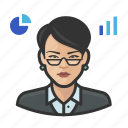 analyst, asian, avatar, female, stock, user, woman icon