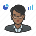 analyst, avatar, female, stock, user, woman icon