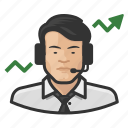 asian, avatar, broker, male, man, stock, user icon