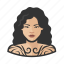 asian, avatar, female, tattooed, user, woman icon