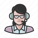 announcer, avatar, female, user, white, woman icon