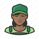 avatar, baseball cap, overalls, user, woman