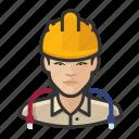 asian, avatar, construction, hardhat, technician, user, woman icon