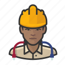 avatar, construction, female, hardhat, network, technician, user icon