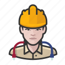 avatar, construction, female, hardhat, network, technician, user