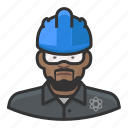 man, user, hardhat, construction, avatar, technician, nuclear
