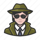avatar, female, investigator, private investigator, spy, user, woman icon