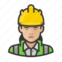 asian, avatar, construction, hardhat, user, woman