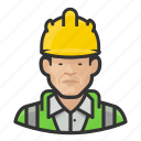asian, avatar, construction, hardhat, male, user icon