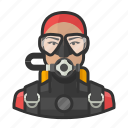 asian, woman, user, scuba diving, avatar, scuba