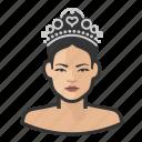 asian, avatar, pageant, princess, tiara, user, woman icon