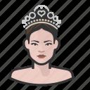 avatar, pageant, princess, tiara, user, woman icon