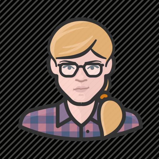 avatar, blond, girl, plaid, ponytail, user, woman icon
