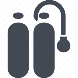 cylinders, diving, oxygen cylinders, scuba gear icon