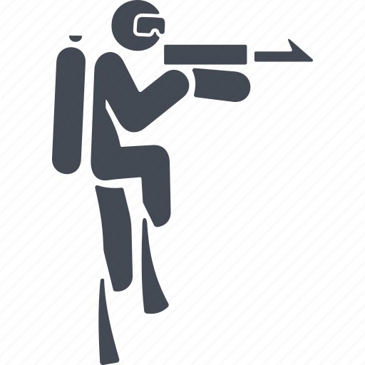 aqualung, diving, spearfishing, speargun icon