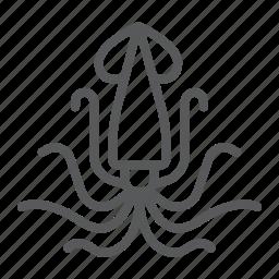animal, aquatic, nature, ocen, sea, squid, underwater icon