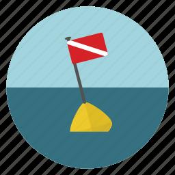 dive, flag, ocean, sea icon