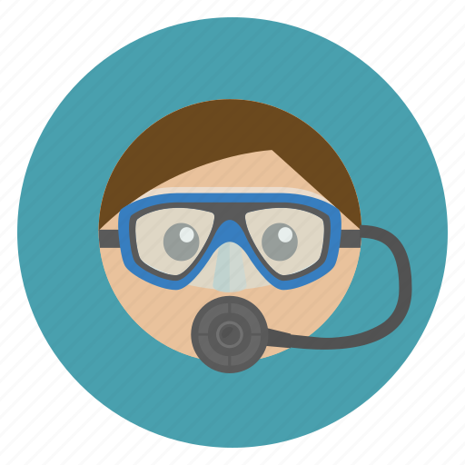 dive, diver, man, mask, ocean, sea, woman icon
