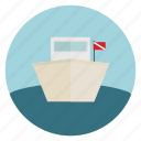 boat, dive, flag, ocean, sea, ship
