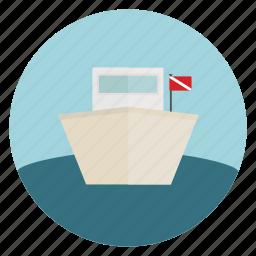 boat, dive, flag, ocean, sea, ship icon