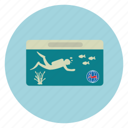 dive, diver, id, pass, qualification icon