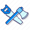 axe, saw, woodworking icon
