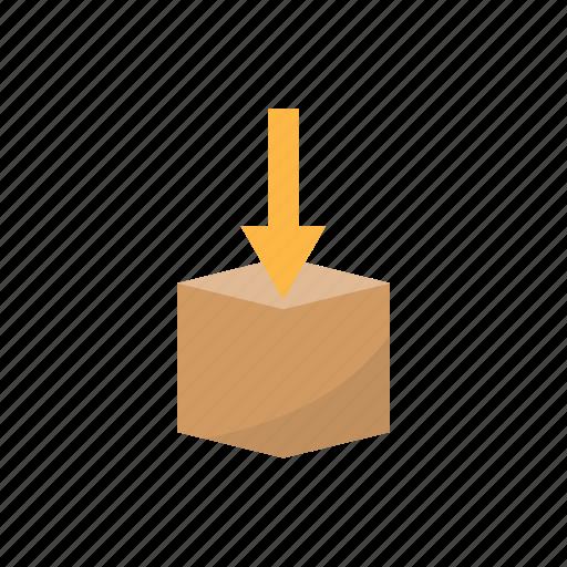 box, delivery, down, logistics icon