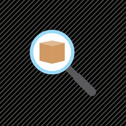 box, delivery, logistics, search icon
