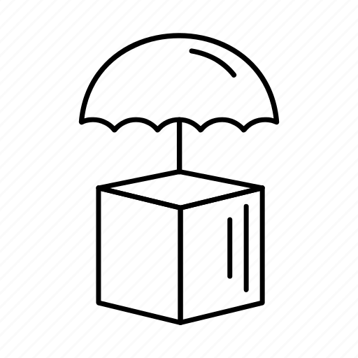 box, delivery, gift, logistics, umbrella icon