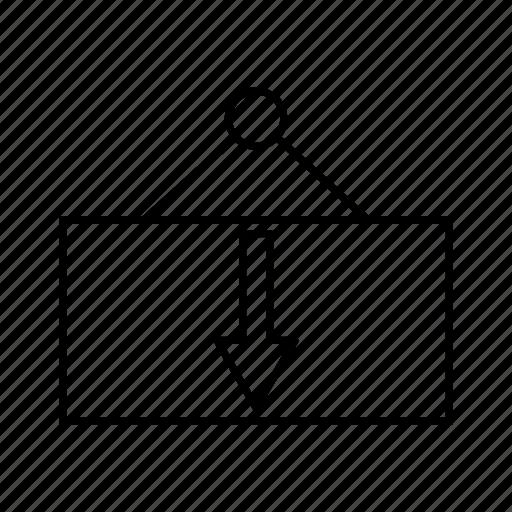delivery, down, logistics icon