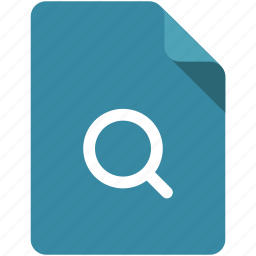 document, find, glass, lens, magnifying glass, search, zoom icon