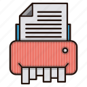 document, files, office, shredder, trash icon