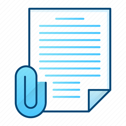 attachment, binder, document, office, paperclip icon