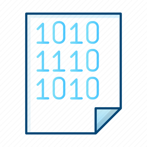binary, document, file, office, processing icon