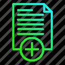 add, data, document, file icon