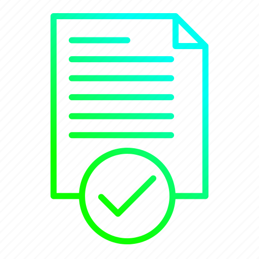 accept, approved, data, document icon