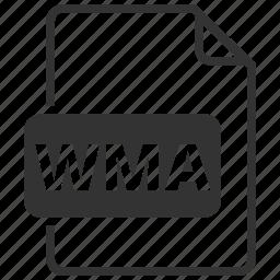 audio, codecs, data, file, file format, media, wma icon