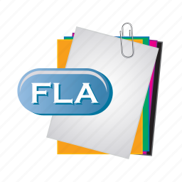 document, file, fla, folder, format, paper icon