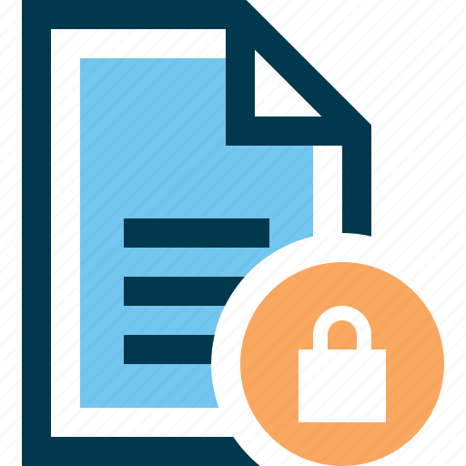 block, document, file, lock, protection, security icon
